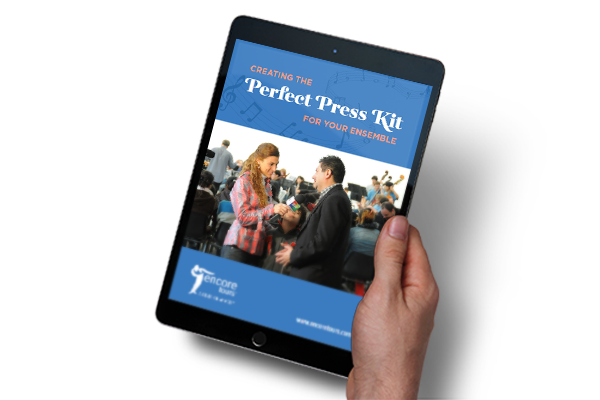 "Cover of ""Creating the Perfect Press Kit For Your Ensemble"" free e-book displayed on a tablet"